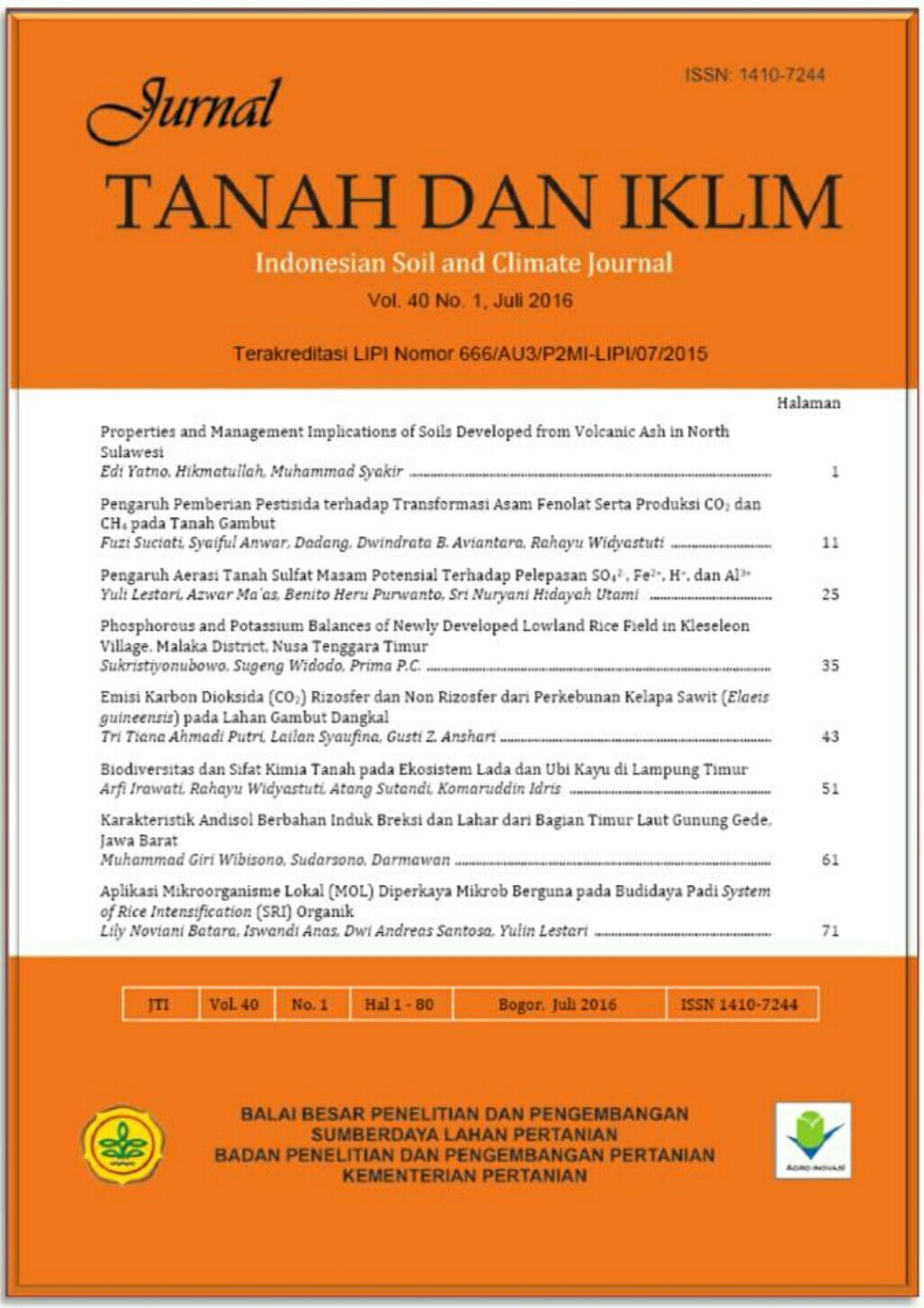 Jurnal Tanah dan Iklim (Indonesian Soil and Climate Journal)